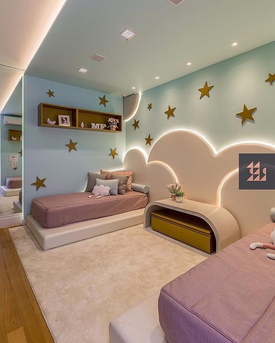 bedroom, pink rug, wooden floor, blue wall, white bed platform, pink bed, white cloud on the wall, stars