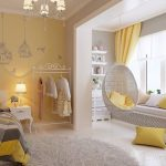 Bedroom, White Floor, Grey Wall, Yellow Wall, Off White Chandelier, Yellow Curtain, Window Nook, White Shelves, White Rug, White Side Table
