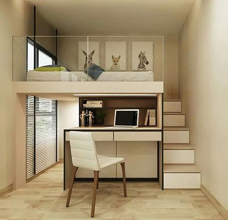 bedroom, white floor, white wall, white bed platform above, white studying  table