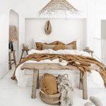 Bedroom, White Linen, White Wooden Floor, White Wall, Wooden Bench