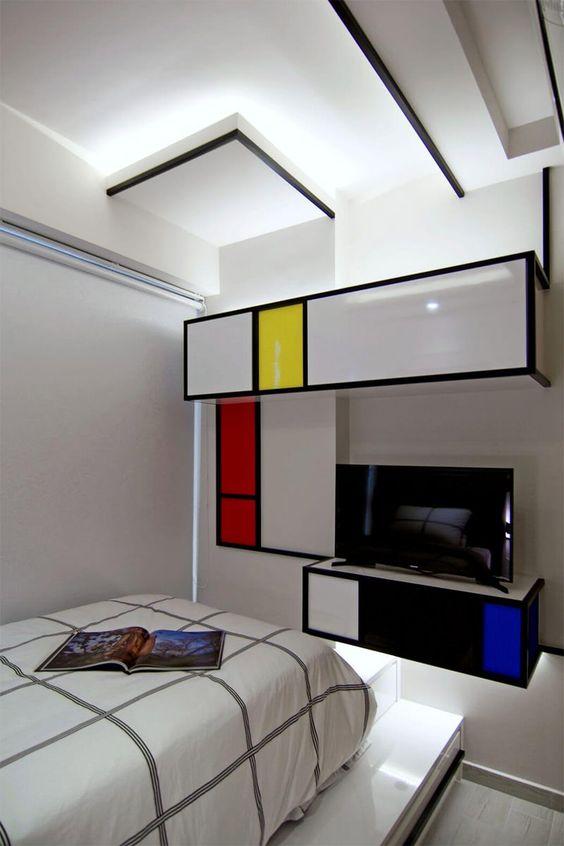 bedroom, white wall, pop art, color blocks, black lines, white bed platform, floating cabinet