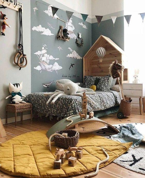 bedroom, wooden floor, grey wall, wooden roof headboard, rug, bedside cabinet