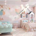 Bedroom, Wooden Floor, Pink Painting Wall, White Wainscot, Green Sofa, Pink Bed, Grey Rug, Balloon Pendants