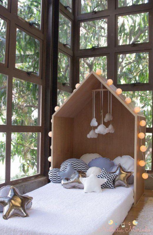 bedroom, wooden floor, white bed, wooden roof, large windows window