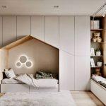 Bedroom, Wooden Floor, White Built In Cupboard, Grey Rug, Wall Nook, Shelves