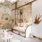 Bedroom, Wooden Floor, White Built In Cupboard, Wallpaper, White Bulb, White Sofa Bed, White Mini Table Chair