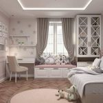 Bedroom, Wooden Floor, White Ceiling, Crystal Ceiling Lamp, Rug, White Wooden Window Nook, White Wooden Study Table, Wooden Built In Cupboard, Bed