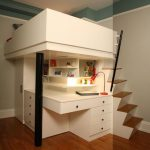 Bedroom, Wooden Floor, White Wall, White Built In Study Table, Drawers, Cupboard Under The Bed Platform, Wooden Stairs