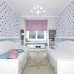 Bedroom, Wooden Floor, White Wallpaper, Blue Stars, White Bed Sofa Platform With Drawers, White Chandelier, White Shelves, White Floating Table, Rug