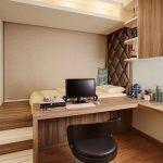 Bedroom, Wooden Floor, Wooden Platform, Wooden Table, Wooden Upper Cabinet, Shelves, Bed