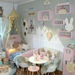 Bedroom, Wooden Froom, Blue Wall, Pink Floating Shelves, Pink Bed Platform, Blue Mini Modern Chairs, White Round Table,