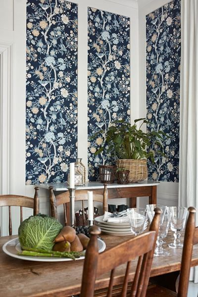 blue flower wallpaper as wall accent, white wall, wooden chairs, wooden table