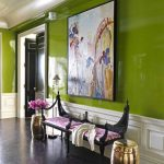 Bright Entrance, Green Wall, White Wainscoting, Black Floor, Black Purple Bench