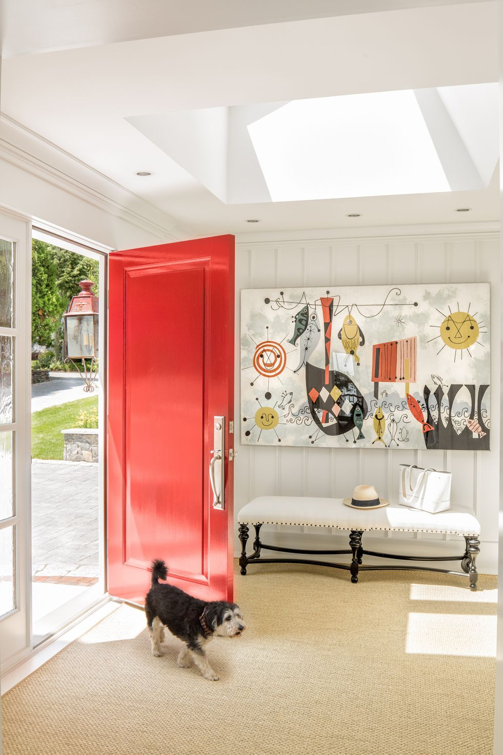 bright entrance, white wall, white ceiling, glass ceiling, white bench, colorful painting, red door