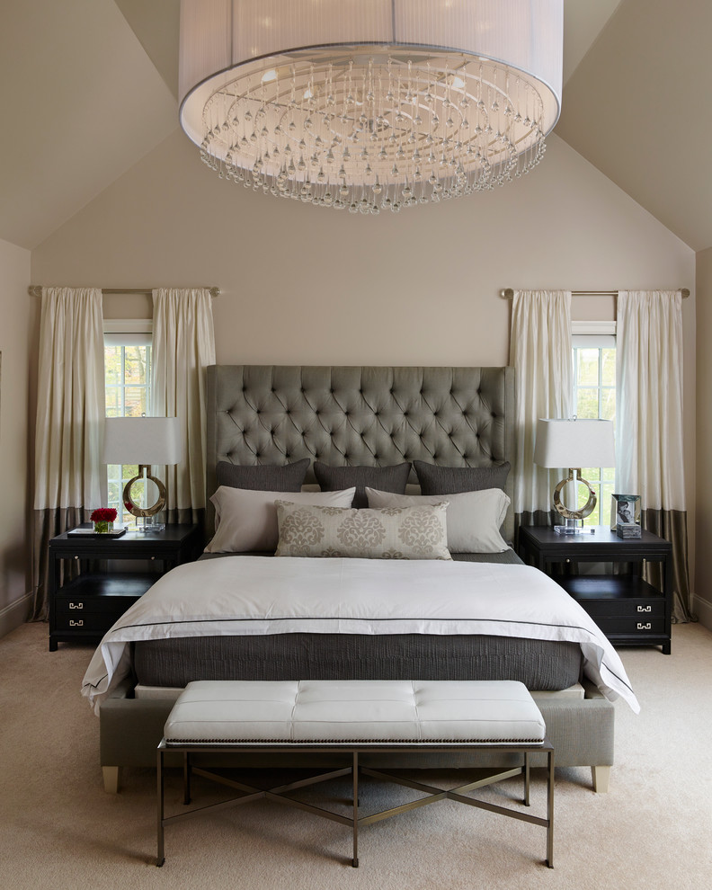 chic bed sets large chandelier tufted headboard windows curtains black nightstands white table lamps white and gray bedding pillows white bench gray bed