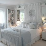 Chic Bed Sets Mirrored Wall White Bed White Bedding White Bed Side Tables White Table Lamps White Bookshelf White Sofa Window White Valance Pillows