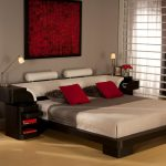 Chic Bed Sets Red Artwork Windows White Curtains Black Bed Nightstands Red Room Decoration Red Pillows Brown Pillows White Headboard Shutters Gray Wall