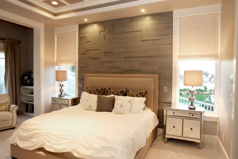 chic bed sets textured accent wall windows window shades table lamp brown bed brown headboard white bedding armchair curtains pillows