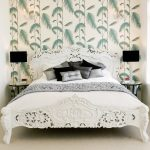 Chic Bed Sets Wallpaper Black Table Lamp Glass Bed Side Tables White Framed Bed White Headboard Gray Pillows White Bedding