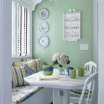 Dining Nook, Bule Floor, Green Wall, White Bench, White Chairs, White Table, Flowery Cushion, White Chandelier