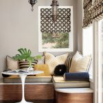 Dining Nook, Wooden Floor, Beige Wall, Glass Window, Wooden Corner Bench, White Round Tulip Table, Cushion, Moroccan Pendant, Patterned Curtain