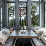 Dining Nook, Wooden Floor, White Bench, Brown Leather Cushion, Grey Framed Window, Wooden Table