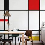 Dining Room, Beige Lfoor, Pop Art Wall, Wooden Dining Set, White Bottom Cabinet