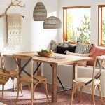 Dining Room, Reg Rug, Wooden Table, Wooden Chairs, White Wall, White Built In Bench, Colorful Pillows, Rattan Pendants