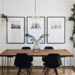 Dining Room, Wooden Floor, Rattan Rug, White Plank Wall, Wooden Table, Black Modern Chairs, Clear Bulb Pendant