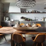 Dining Room, Wooden Table, Wooden Metal Golden Chairs, Crystal Chandelier