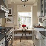 Galley Kitchen, Wooden Floor, White Wall, White Cabinet, Window Seating