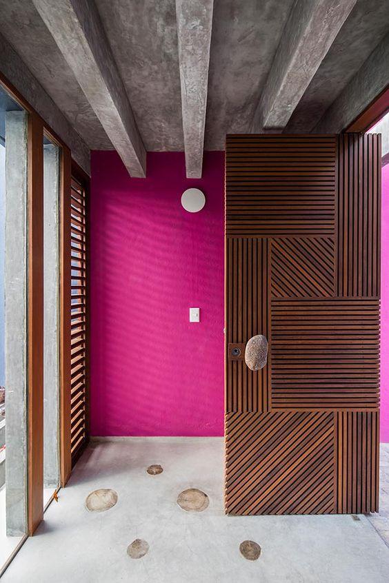 grey floor, wooden door, grey ceiling, wooden framed window