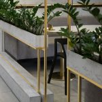 Grey Partition With Planter, Golden Lines