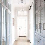 Hall Way, White Wall, Grey Cupboard, Wooden Floor, Glass Pendant