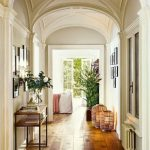 Hallway, White Wall, Patterned Dome Ceiling, Wooden Floor, Wooden Console Table