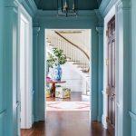 Hallway, Wooden Floor, Turquoise Wall, Black Metal Pendant