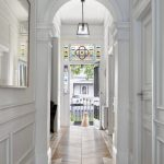 Hallway, Wooden Floor, White Wall, Simple Black Metal Pendant, Tinted Glass