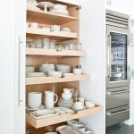 Kitchen, Grey Floor, White Built In Cupboard, China Cabinet, Pull Off Shelves