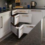 Kitchen, Grey Marble Floor Tiles, White Cabinet, Silver Handler, Grey Backsplash Wall, Black Marble Top