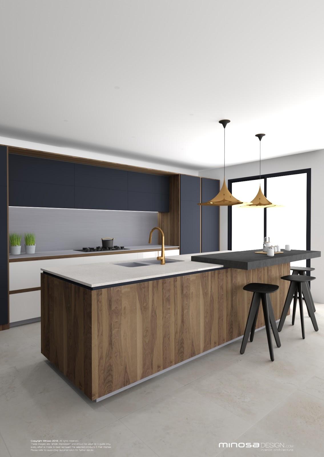 kitchen island, wood surface, white top, black board, white cabinet, grey backsplash wall, dark grey cupboard