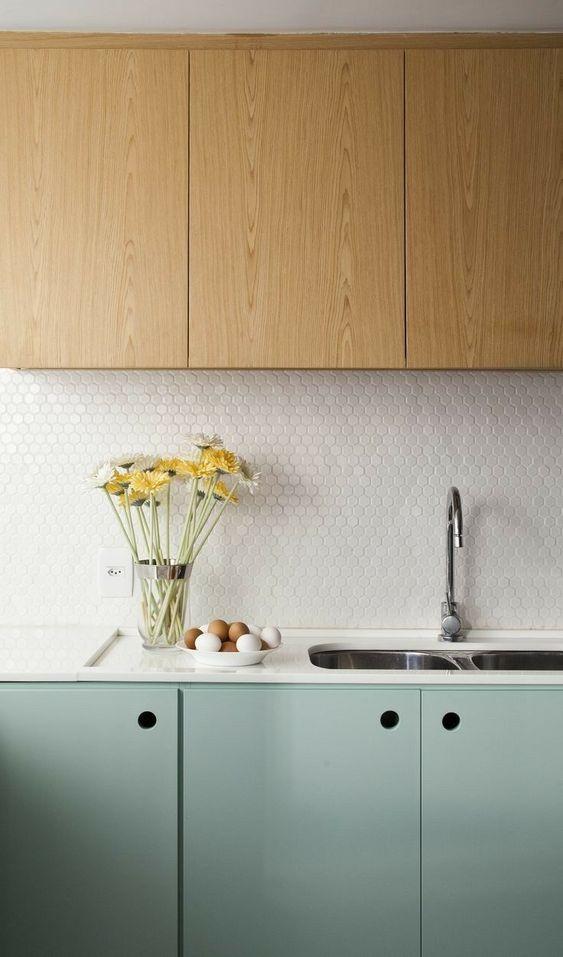 kitchen, light green cabinet, white tiny hexagonal backsplash, wooden upper cabinet