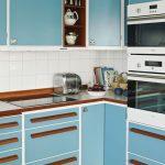 Kitchen, White Backsplash, Blue Cabinet With Wooden Handler, Rug