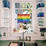 Kitchen, White Bottom Cabinet, Green Top, Silver Sink, White Floating Small Shelves, Window