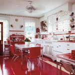 Kitchen, White Cabinet, White Backsplash, White Wall, White Floating Small Shelves, Red Accent, White Curtain With Red Dots, Red Floor, White Dining Table, Red Chairs