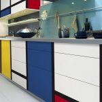 Kitchen, White Floor, Cabinet With Colorful Blocks Pop Art, Blue Backsplash