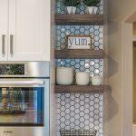 Kitchen, White Hexagonal Wall Tiles, White Cabinet, Shelves In The Corner