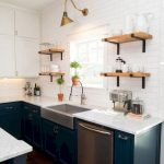 Kitchen, White Subway Wall Tiles, Wooden Open Shelves, Green Bottom Cabinet With White Top, White Upper Cabinet, Golden Sconces