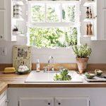 Kitchen, White Wall, White Bottom Cabinet, Wooden Top, White Small Shelves Near The Window