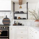 Kitchen, White Wall, White Marble Top, White Bottom Cabinet, Wooden Floor, Black Metal Shelves