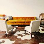 Living Room, Stenciled Floor, Beige Wall, Beige Chairs, Mustard Velvet Sofa
